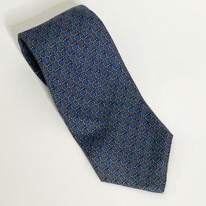 Brooks Brothers Blue Gold Geometric Tie 100% Silk